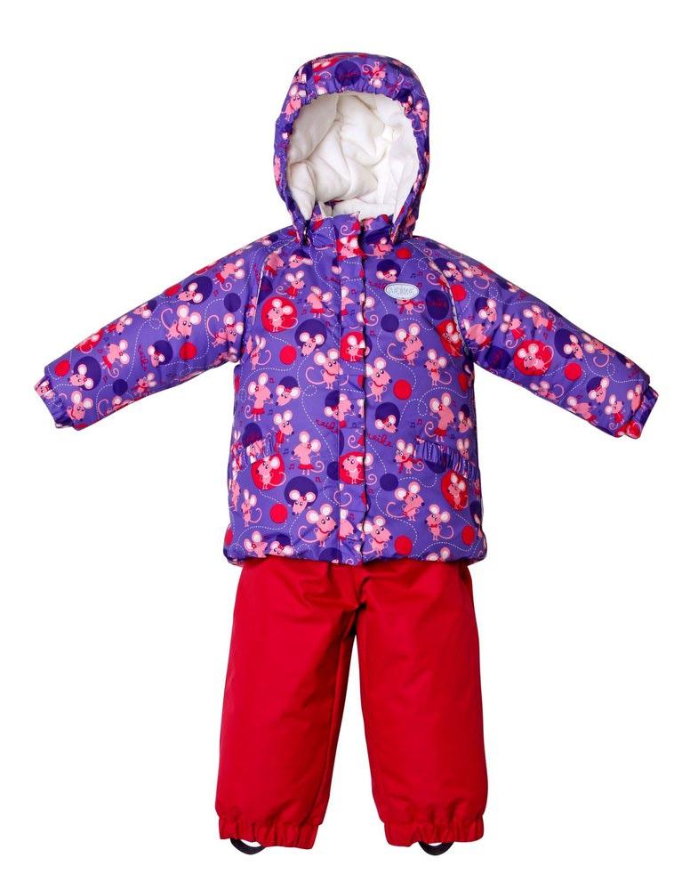 REIKE Комплект для девочки (куртка+полукомбинезон) mice violet (фото, вид 1)