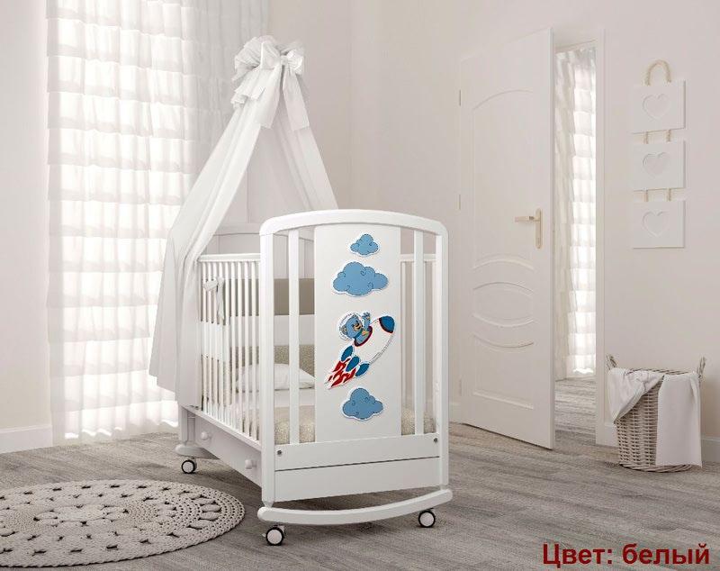 Кроватка GANDYLYAN Жаклин (мишка на ракете) (фото, вид 4)