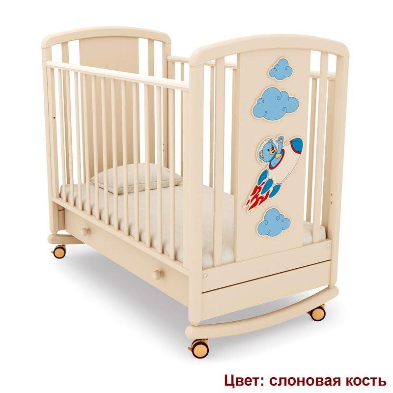 Кроватка GANDYLYAN Жаклин (мишка на ракете) (фото, вид 6)