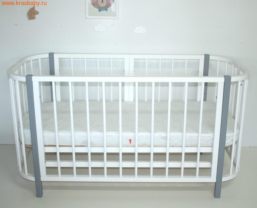 Кровать-трансформер Секция 1100-680 Белая для Прямоугольной кроватки PAPPY (фото, вид 1)