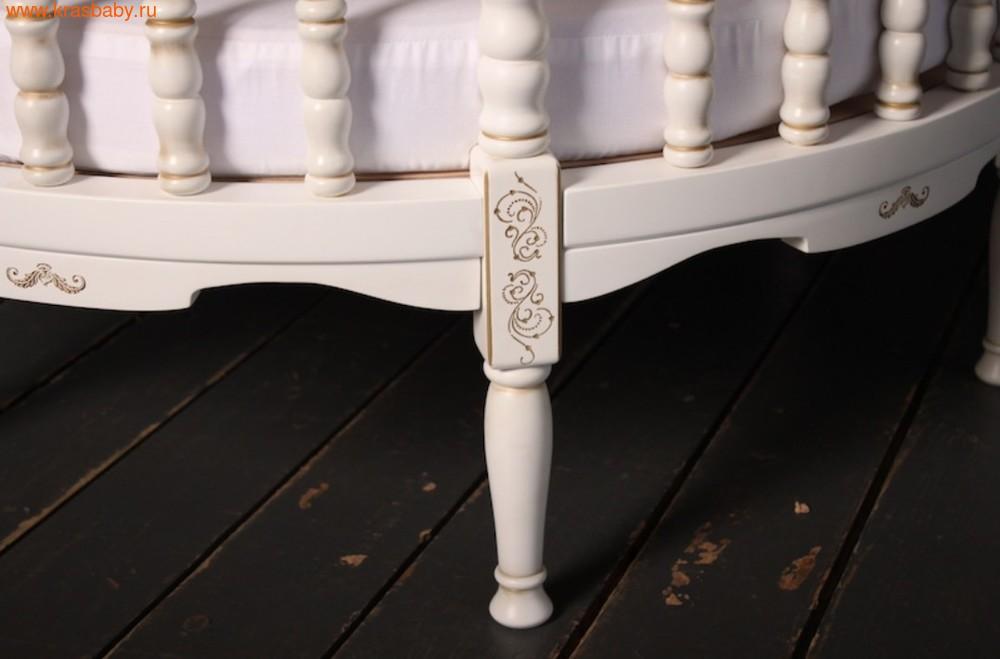 Кроватка SOOHOOKIDS круглая Royal Regis Luxury Белая c Золотом (фото, вид 3)