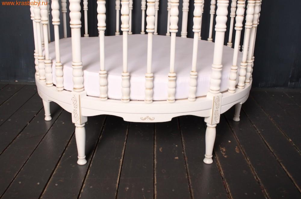 Кроватка SOOHOOKIDS круглая Royal Regis Luxury Белая c Золотом (фото, вид 5)