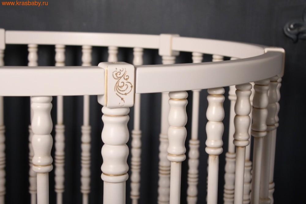 Кроватка SOOHOOKIDS круглая Royal Regis Luxury Белая c Золотом (фото, вид 8)