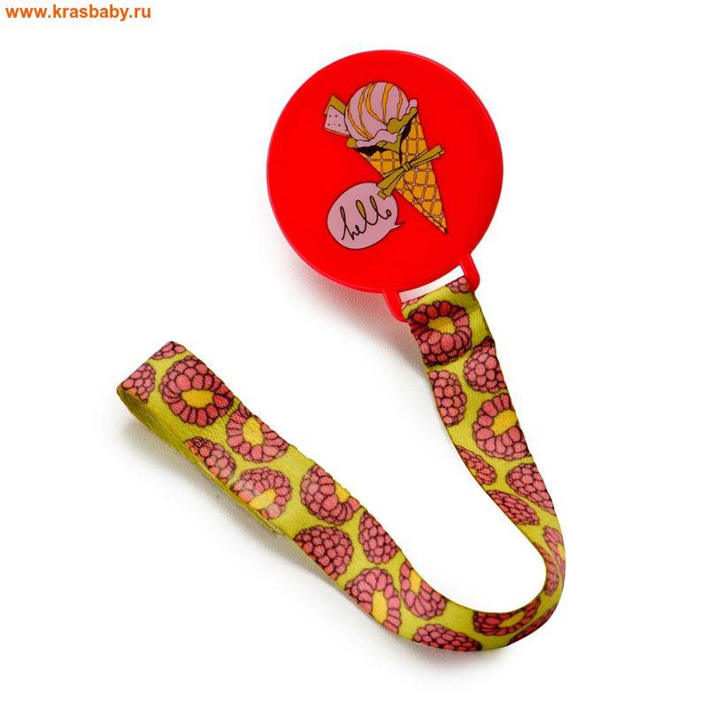 HAPPY BABY Держатель для пустышки Pacifier Holder with ribbon (фото)