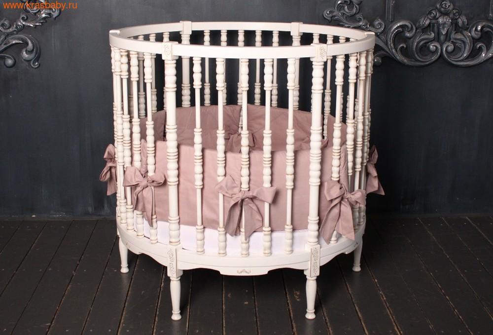 Кроватка SOOHOOKIDS круглая Royal Regis Luxury Белая c Золотом (фото)