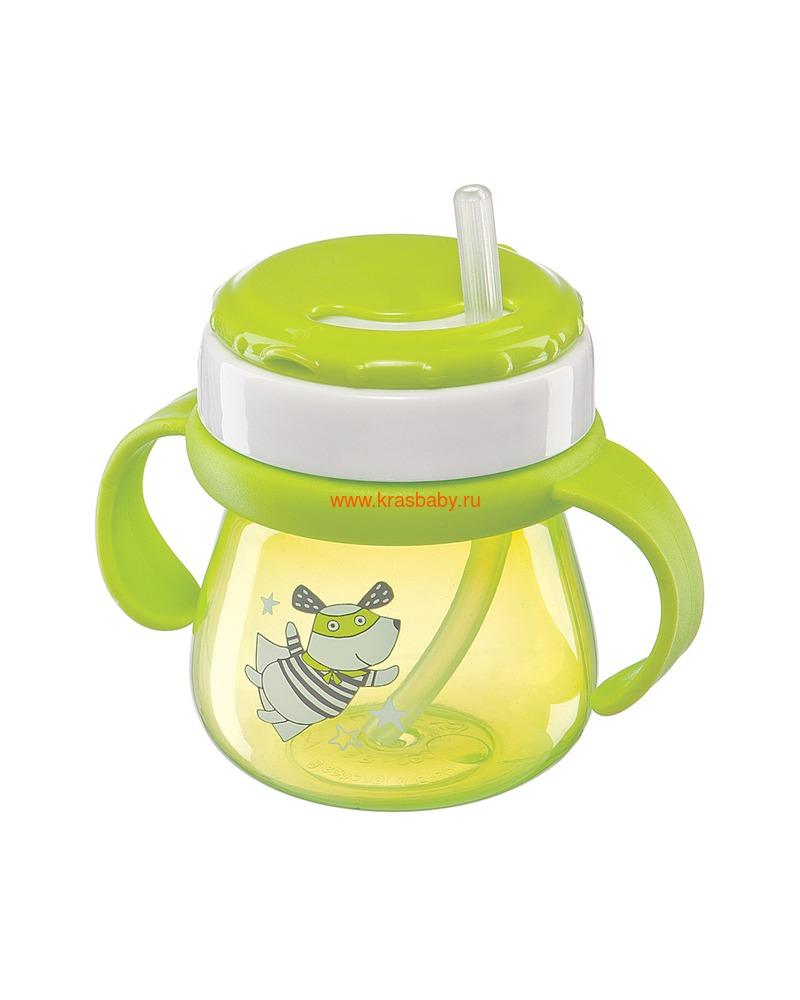 HAPPY BABY Поильник с трубочкой и ручками STRAW FEEDING CUP (фото)