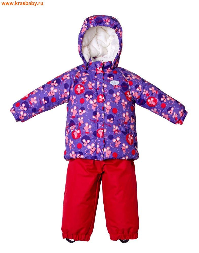 REIKE Комплект для девочки (куртка+полукомбинезон) mice violet (фото)