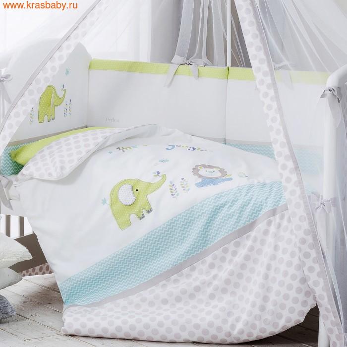 Комплект постельного белья PERINA Комплект в кроватку Джунгли из сатина (7 предметов) (фото)