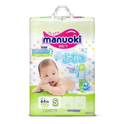 Manuoki Подгузники Ultra Thin размер S 3-6кг, 64 шт