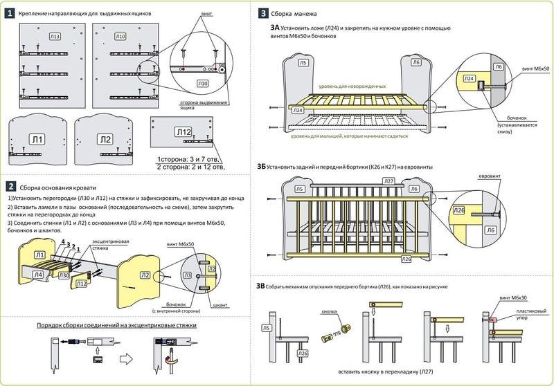 Кроватка трансформер инструкция по сборке фея